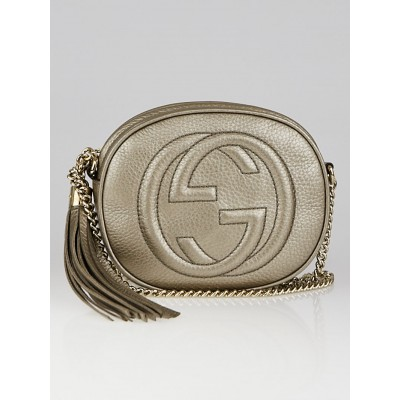 Gucci Gold Pebbled Leather Mini Soho Chain Crossbody Bag