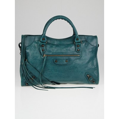 Balenciaga Vert Menthe Lambskin Leather Motorcycle City Bag