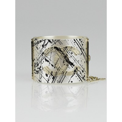 Chanel Black/White Resin Paint Spatter CC Wide Cuff Bracelet