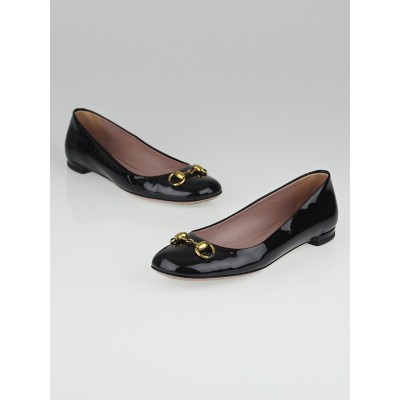 Gucci Black Patent Leather Jolene Ballet Flats Size 5.5/36