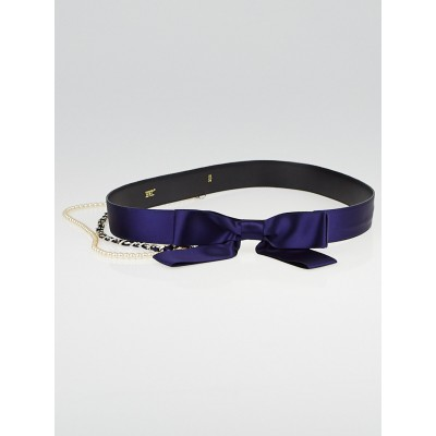 Chanel Blue Satin Bow and Chain Belt Size 85/34
