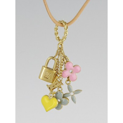 Louis Vuitton Pink/Gold Sweet Monogram Pendant Necklace