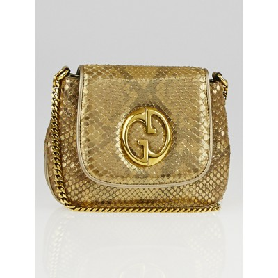 Gucci Gold Python 1973 Small Chain Flap Bag