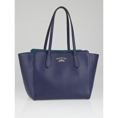 Gucci Blue/Teal Pebbled Leather Swing Small Tote Bag