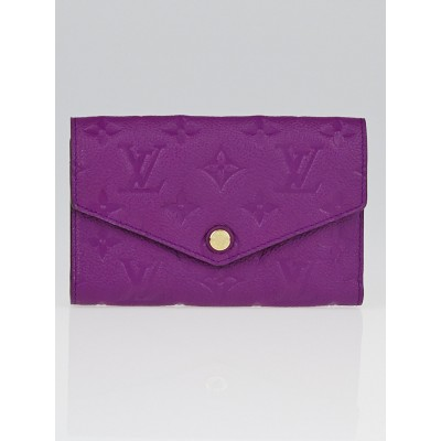 Louis Vuitton Amytheste Monogram Empreinte Leather Curieuse Compact Wallet