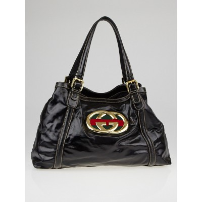 Gucci Black Dialux Coated Fabric Britt Tote Bag