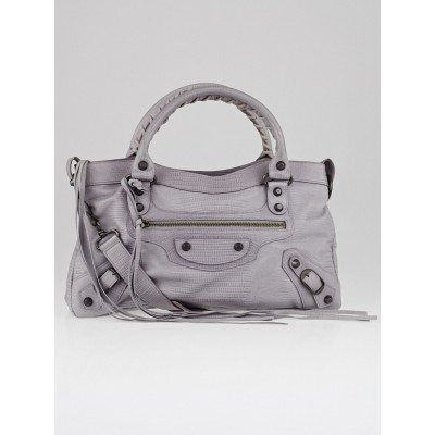 Balenciaga Limited Edition Neiman Marcus Anniversary Lilac Lizard Embossed Leather Motorcycle First Bag