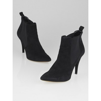 Christian Dior Black Suede Pointed Toe Ankle Boots Size 7/37.5