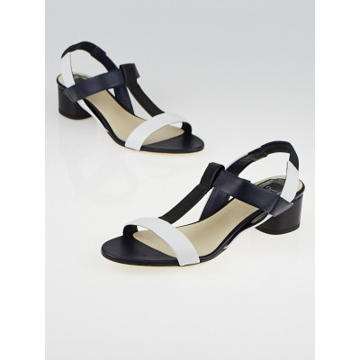 Christian Dior Black/White Leather T-Strap Sandals Size 8/38.5