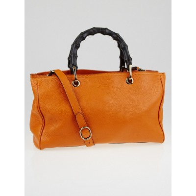 Gucci Orange Pebbled Leather Medium Bamboo Shopper Tote Bag