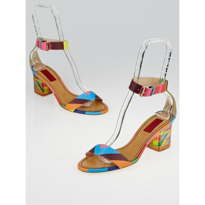 Valentino Rainbow Chevron Leather 1973 Plexi Sandals Size 8.5/39