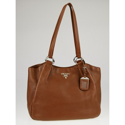 Prada Brown Vitello Daino Leather Tote Bag