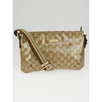 Gucci Beige/Ebony GG Crystal Canvas Vintage Web Small Messenger Bag