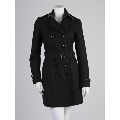 Burberry Brit Black Cotton Mid-Length Trench Coat Size 6