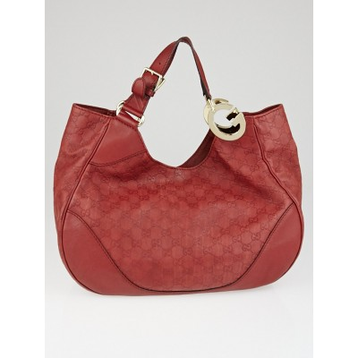 Gucci Red Guccissima Leather Charlotte Tote Bag