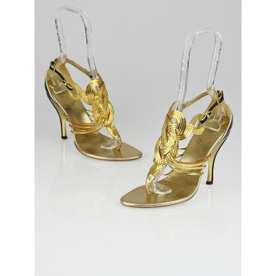 Gucci Gold Leather and Chain High-Heel Thong Sandals Size 7.5