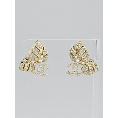Chanel Faux Pearl and Crystal Leaf CC Earrings