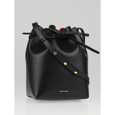 Mansur Gavriel Black/Flamma Leather Mini Bucket Bag