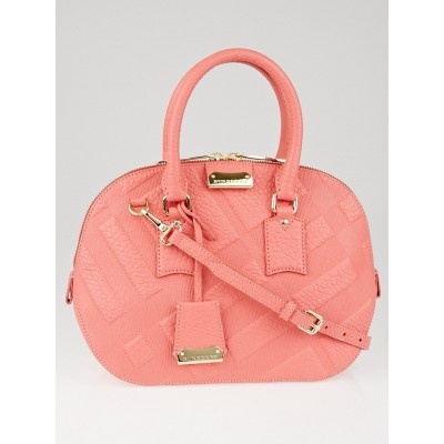 Burberry Rose Pink Check Embossed Leather Small Orchard Bag