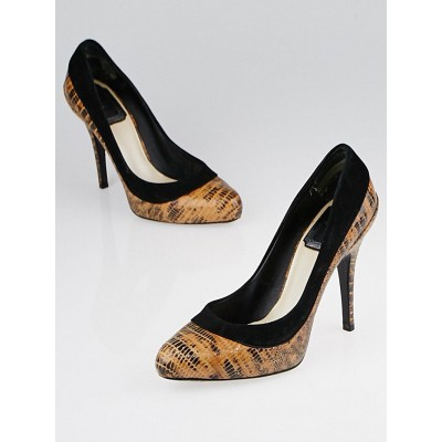 Christian Dior Brown Stamped Leather and Suede Pumps Size 5/35.5