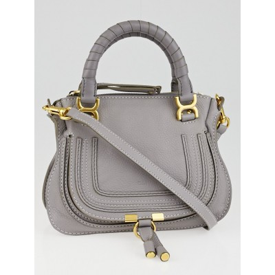Chloe Cashmere Grey Pebbled Leather Baby Marcie Bag