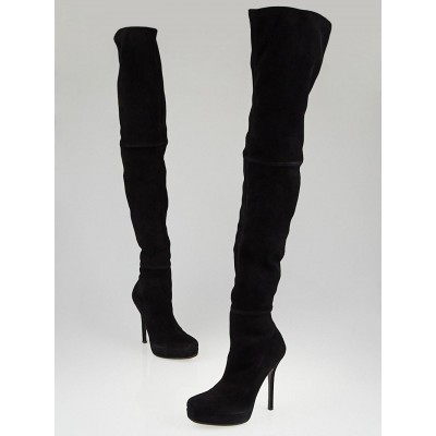 Gucci Black Suede Over-the-Knee Tile Platform Boots Size 7/37.5