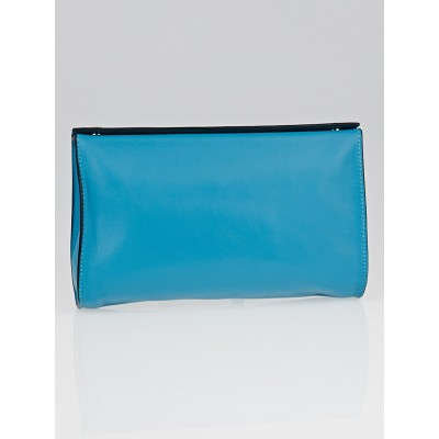 Hermes Turquoise Swift Leather Karo GM Pouch