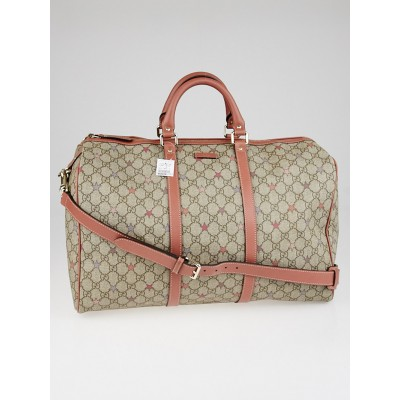 Gucci Limited Edition GG Supreme 'Stars' Canvas and Pink Leather Carry-on Duffel Bag