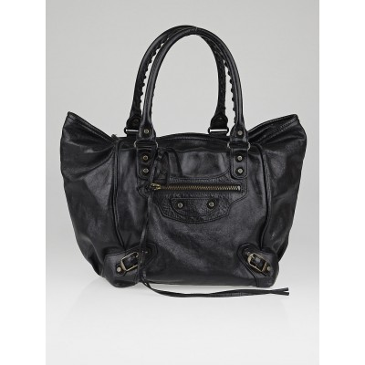 Balenciaga Black Lambskin Leather Sunday S Tote Bag