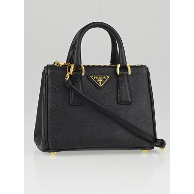 Prada Black Saffiano Lux Leather Nano Tote Bag BN2842