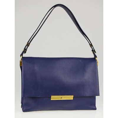 Celine Ink Blue Calfskin Leather Blade Flap Bag