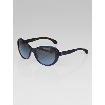 Chanel Navy Blue Frame and Tweed Sunglasses-5241