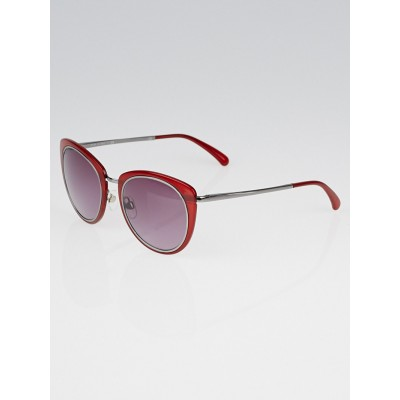Chanel Red Frame and Gunmetal Round Sunglasses- 4202