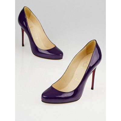 Christian Louboutin Plum Patent Leather Fifi 100 Pumps Size 7/37.5