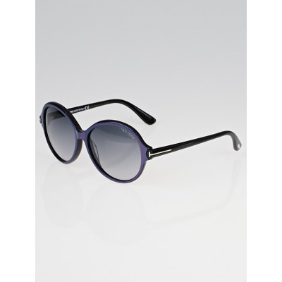 Tom Ford Purple and Black Frame Round Milena Sunglasses - TF343