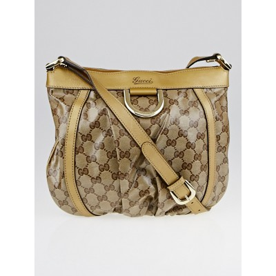 Gucci Beige/Ebony GG Crystal Canvas D-Ring Crossbody Bag