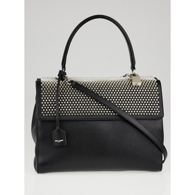 Yves Saint Laurent Black Studded Calfskin Leather Medium Moujik Top Handle Bag