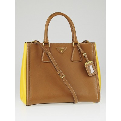 Prada Caramel and Mimo Saffiano Lux Leather Tote Bag BN2438