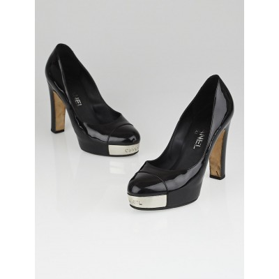 Chanel Black Patent Leather Cap Toe Platform Pumps Size 6.5/37