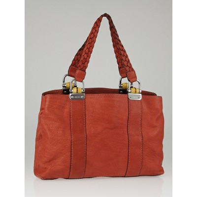 Gucci Red Pebbled Leather Bamboo Bar Medium Tote Bag