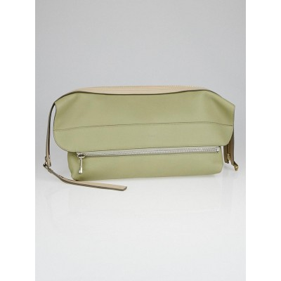 Chloe Green Deerskin Leather Dalston Clutch Bag