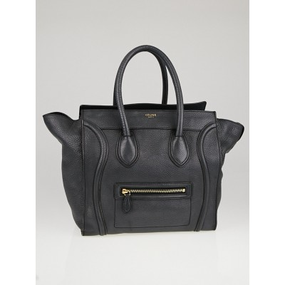 Celine Anthracite Drummed Leather Mini Luggage Tote Bag