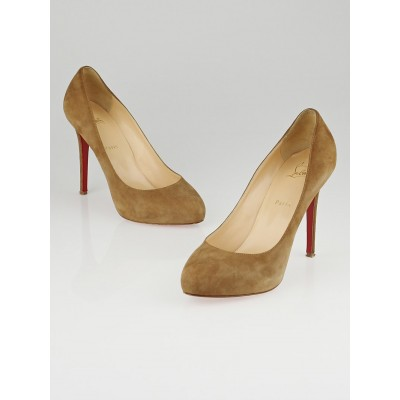 Christian Louboutin Camel Suede New Declic 120 Pumps Size 10.5/41