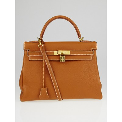Hermes 32cm Gold Togo Leather Gold Plated Kelly Retourne Bag