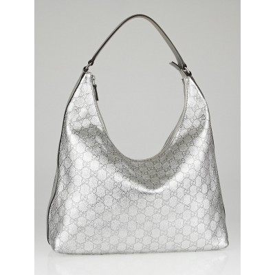Gucci Silver Guccissima Leather Hobo Bag