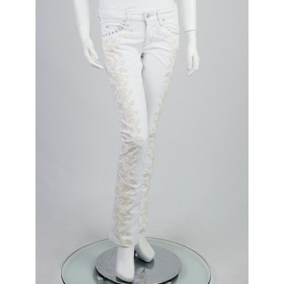 Isabel Marant White/Cream Embroidered Denim Galix Skinny Jeans Size 6/38