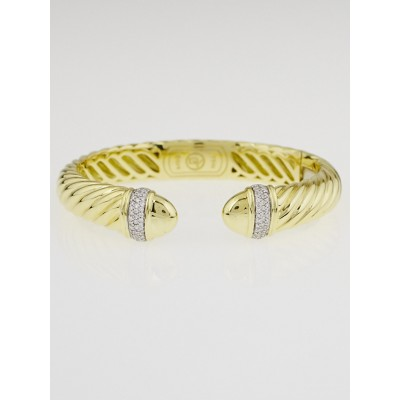 David Yurman 5mm 18k Gold and Diamond Waverly Bracelet