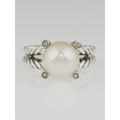 David Yurman Sterling Silver and Diamond Cable Pearl Ring Size 5