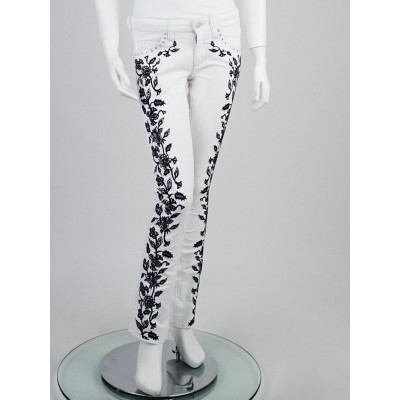 Isabel Marant White/Navy Blue Embroidered Denim Galix Skinny Jeans Size 6/38