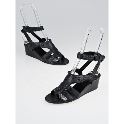 Balenciaga Black Brogues Covered Leather Ankle Strap Wedge Sandals Size 6.5/37